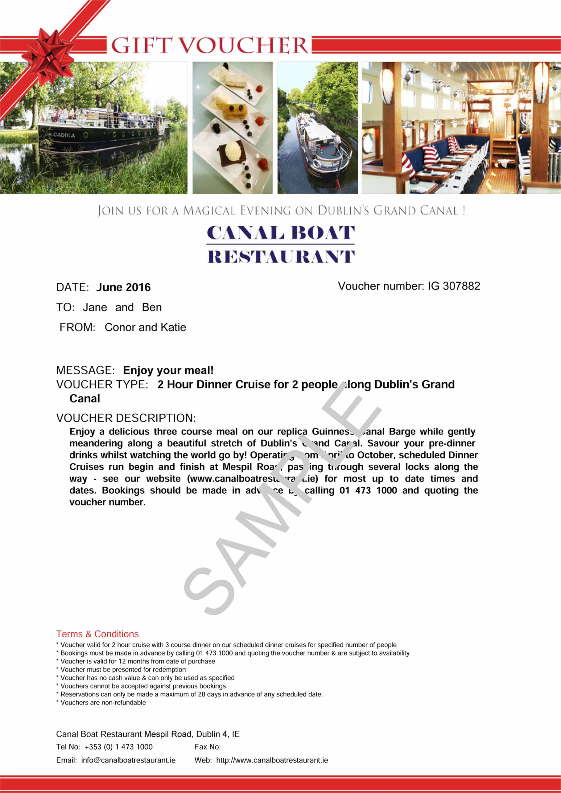 Gift Vouchers Canal Boat Restaurant – Make Voucher