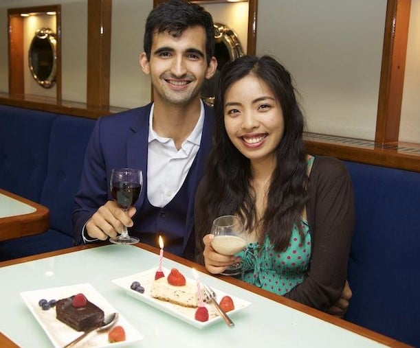 Couple enjoying romantic cruise