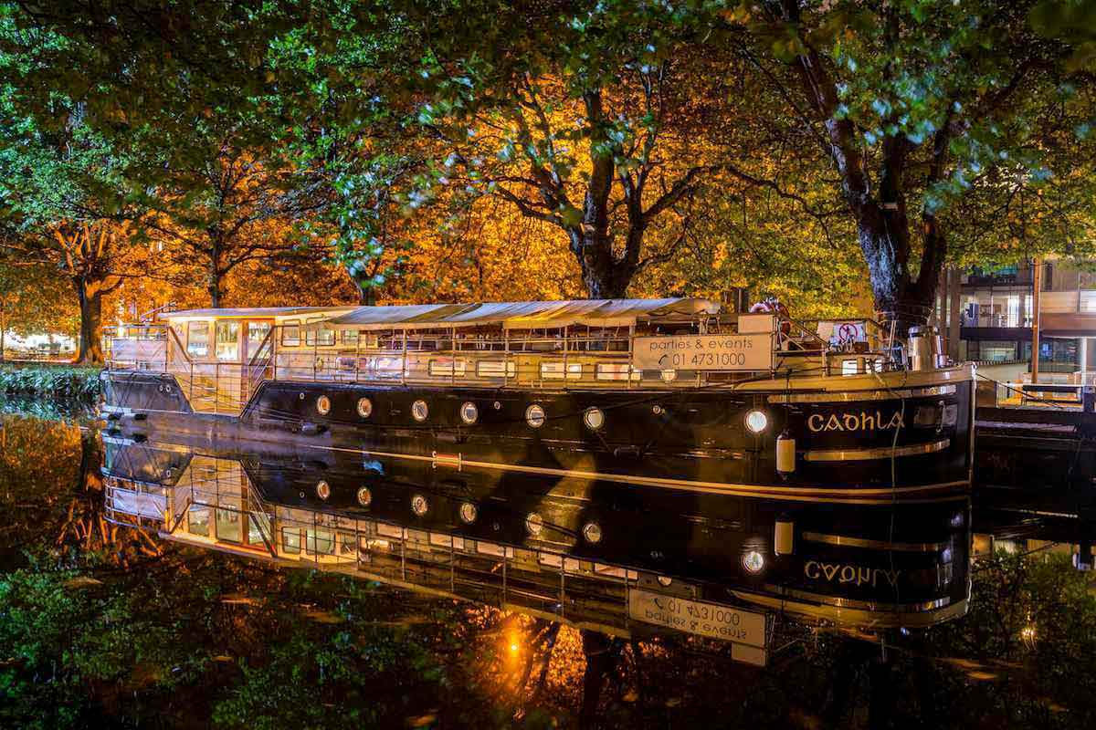Canal Boat Restaurant at Night